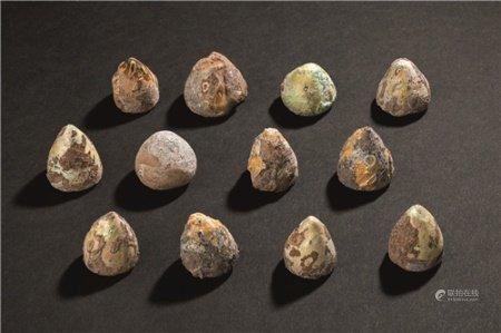 1-3世纪 罗马琉璃棋子 (十二件)