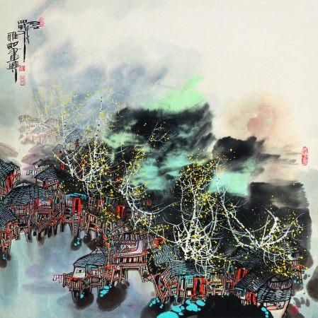 吴雅明(b.1947)  岷山河畔;邑江 (二幅) 立轴 设色纸本