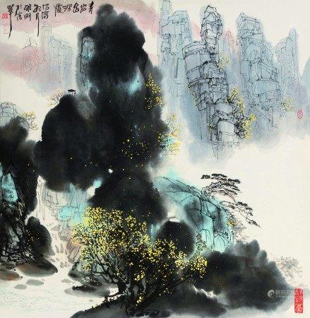 吴雅明(b.1947)  青巌幽深处;江城序曲 (二幅) 立轴 设色纸本