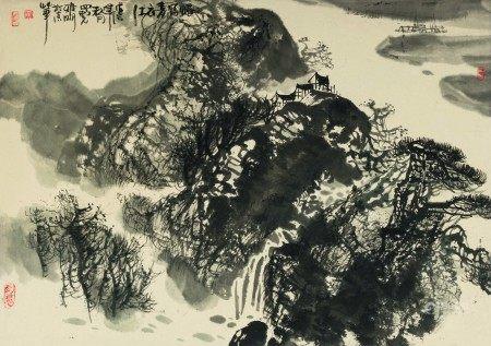 吴雅明(b.1947)  十渡暮秋;忆写青衣江 (二幅) 立轴 设色纸本