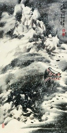 童龢平(b.1952)  雪景 立轴 设色纸本