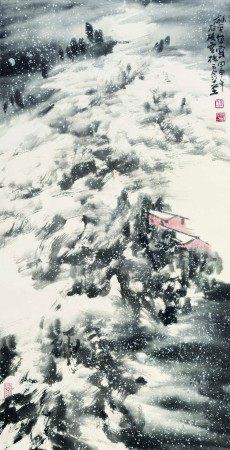 童龢平(b.1952)  苍茫雪景 立轴 设色纸本