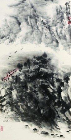 童龢平(b.1952)  雨后山恋图 镜心 设色纸本