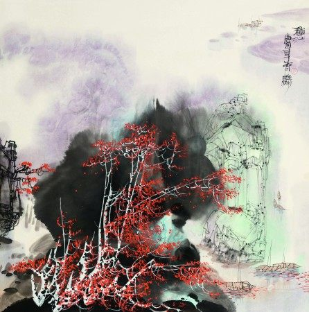 吴雅明(b.1947)  秋江;云横秦岭 (二幅) 立轴 设色纸本