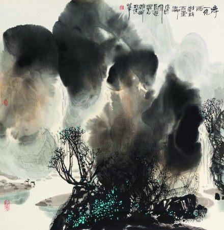 吴雅明(b.1947)  山中一夜雨;江边叶正黄 (二幅) 立轴 设色纸本