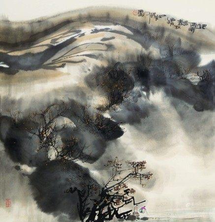 吴雅明(b.1947)  巴山双岸渡春秋;青巌探幽图 (二幅) 立轴/镜心 设色纸本