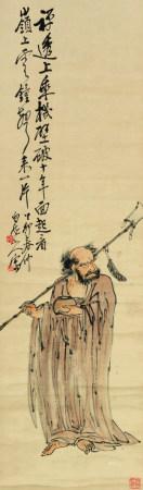 王震(1867-1938)  达摩 立轴 设色纸本