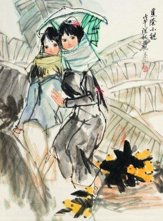 周思聪(1939-1996)  蕉阴小憩 立轴 设色纸本