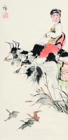 程十发(1921-2007)  牧牛少女 立轴 设色纸本