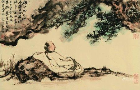 张大千(1899-1983)  观松图 镜心 设色纸本
