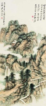 张大千(1899-1983)  林泉洒幽翠 立轴 设色纸本