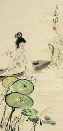 白伯骅(b.1944)  采莲图 立轴 设色纸本