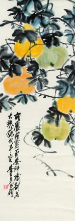 吴昌硕(1844-1927)  葫芦 立轴 设色纸本