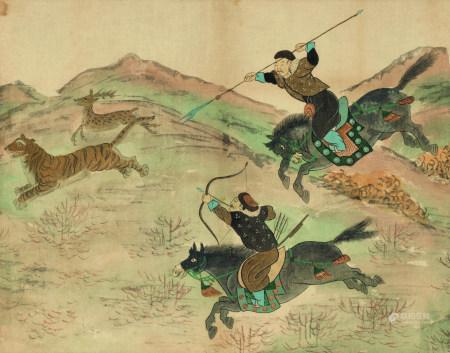 佚名  狩猎图 镜心 设色绢本