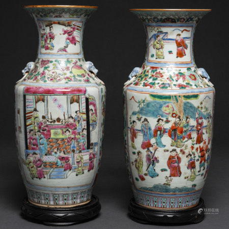 Pareja de jarrones chinos en porcelana familia rosa. Trabajo Chino, Siglo XIX