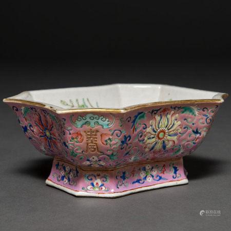Recipiente en porcelana china familia rosa. Trabajo Chino, Siglo XIX