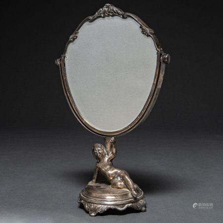 Espejo de tocador basculante realizado en plata española punzonada. Siglo XX