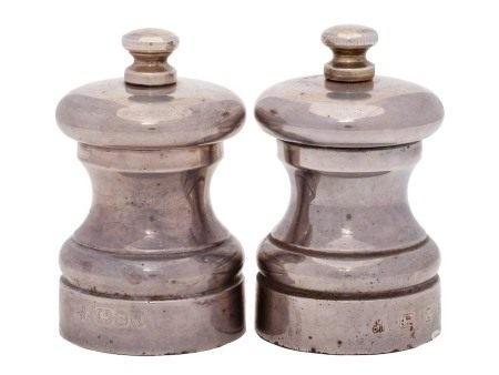 A pair of Elizabeth II silver pepper and salt mills, maker M C Hersey & Sons Ltd, London,