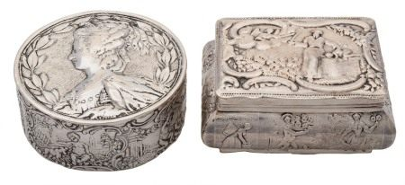 A Continental silver box: of rectangular outline,