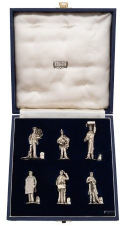 A set of six Elizabeth II novelty name place holders, maker WJH, London,