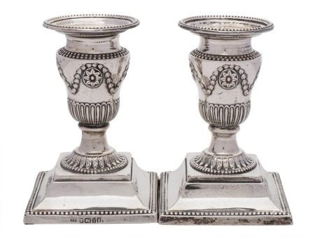 A pair of Victorian silver desk candlesticks, maker Harrison Brothers & Howson, Sheffield,