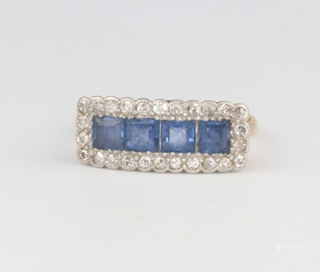 An Edwardian 18ct yellow gold sapphire and diamond cocktail ring with 4 princess cut sapphires