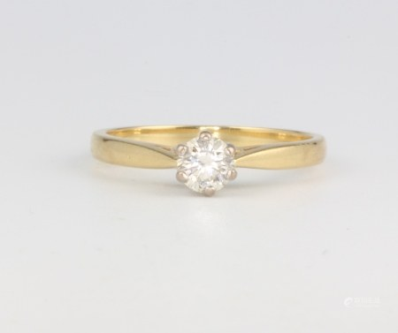 A 9ct yellow gold single stone diamond ring approx. 0.4ct, size P, 3.1 grams
