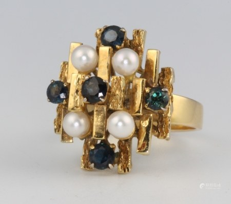 A stylish 1970's 18ct yellow gold sapphire and pearl ring, size N 1/2, 8.2 grams