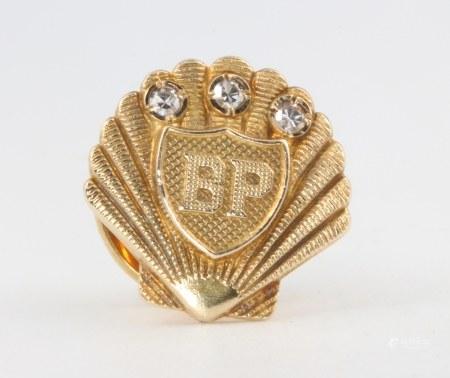 A 9ct yellow gold diamond set BP pin brooch 4.4 grams