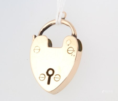 A 9ct yellow gold padlock clasp 3.6 grams