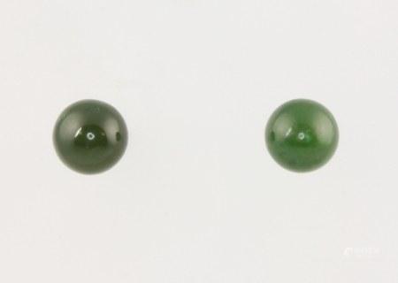 A pair of 9ct yellow gold circular jade studs 5mm