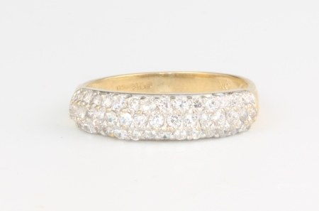 A 9ct yellow gold paste set ring 1.9 grams, size L 1/2