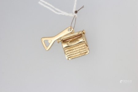 Two 9ct yellow gold charms in the form of a bottle opener and a typewriter 1.7 grams