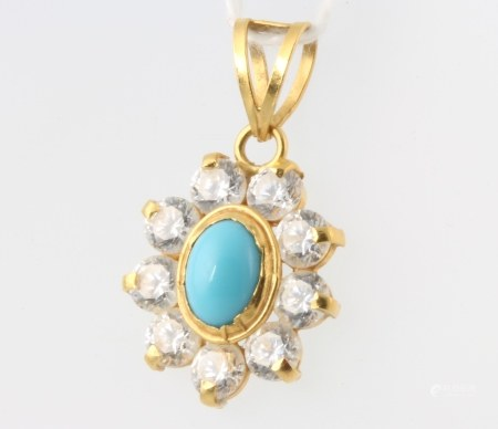 A 22ct yellow gold turquoise and paste pendant 2.8 grams, 25mm