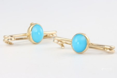 A pair of yellow gold turquoise brooches 3.2 grams