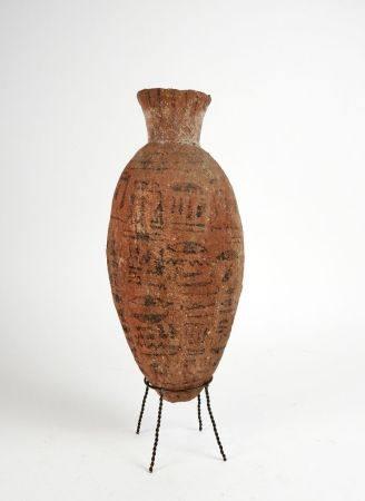 Vase en  terre cuite.Inscrit de colonnes d'hiéroglyphes. Nouvel Empire ou Basse Epoque.Henv 65