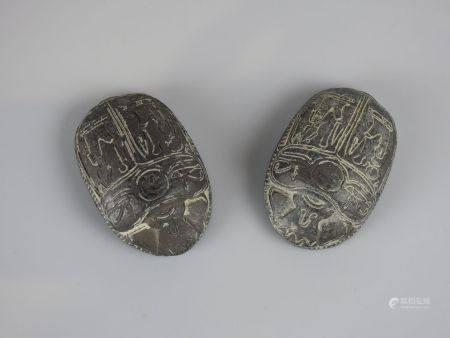 Deux scarabées en pierre  de style.L7cm.