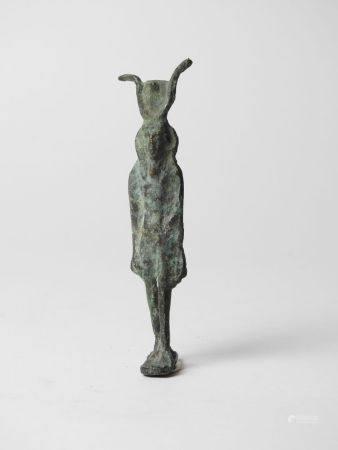 Dieu Osiris lune marchant. Bronze.Personification de la marche du Soleil et par là du cycle du