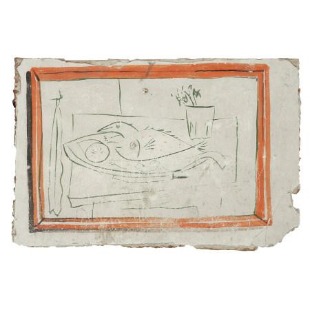¤ PABLO PICASSO (1881-1973)  NATURE MORTE AUX POISSONS OU LES JOURS MA