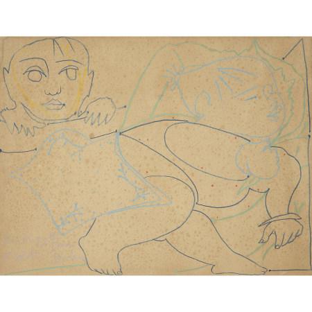 ¤ FRANÇOISE GILOT (NÉE EN 1921)  LES ENFANTS OU LA SIESTE  Crayon de c