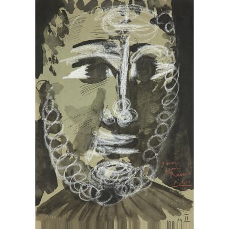 ¤ PABLO PICASSO (1881-1973)  TÊTE DE JEUNE HOMME BARBU, 1967  Encre et