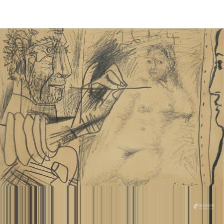 ¤ PABLO PICASSO (1881-1973)  LE PEINTRE ET SON MODÈLE, 1964  Crayon su