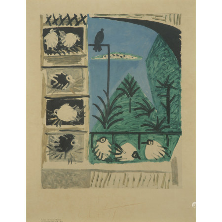 D'APRÈS PABLO PICASSO  PAYSAGE AUX PIGEONS, 1957  Lithographie offset