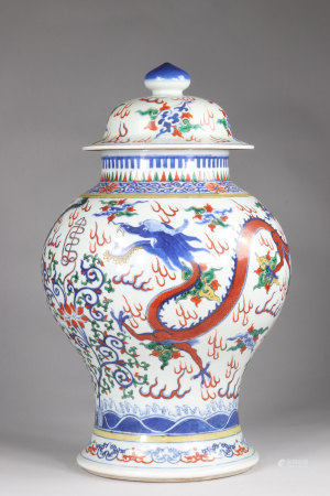 China baluster vase, with its lid, Doucai decor decorated with 2 dragons and the tree with lotus flowers