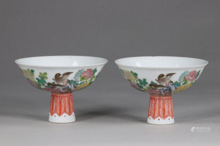 China pair cups on stand with decorations of quail and chrysanthemums - Famille Rose, 4 characters, by Yong Zheng in iron red