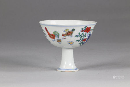 China cup on stand Doucai,: Chicken cup, apocryphal mark of Changhua.