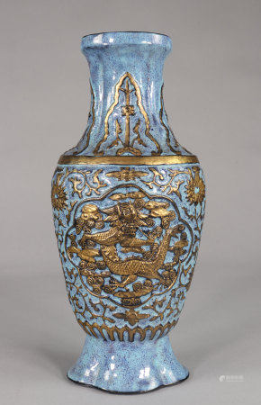 Vase decorated with dragons in porcelain relief imitating bronze Qianlong brand