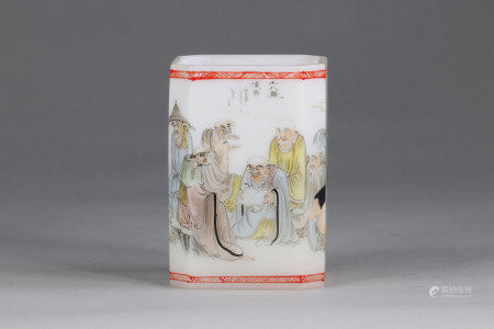 China square brush pot, in Beijing glass, with Famille Rose enamels, Qianlong