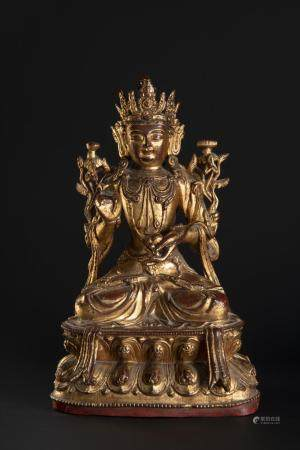 A GILT-BRONZE FIGURE OF KSITIGARBHA