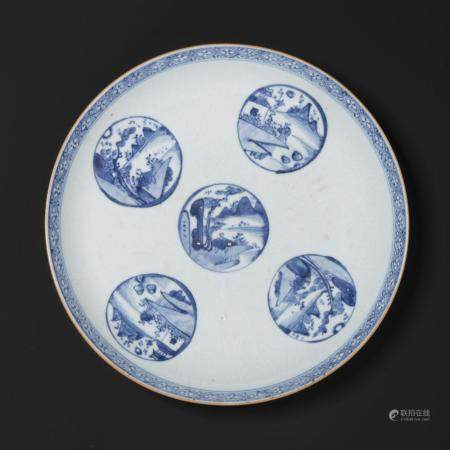 A LARGE BLUE AND WHITE 'SCHOLAR' DISH